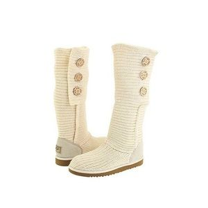 UGG Cream Classic Cardy Cable Knit Boots